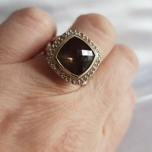 David Yurman Albion 11mm Smoky Quartz Diamond Ring